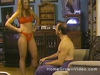 Second-rate wife in unmentionables gives her hubby a great blowjob in POV