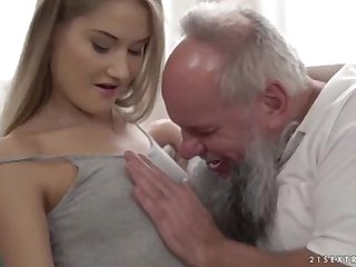 Nubile ultra-cutie vs older grandfather - Tiffany Tatum plus Albert