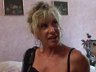 Frigidity Cochonne - Mature blonde French newbie gets cum covered