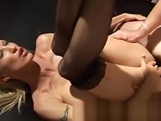 Two blondes on their backs are fucked