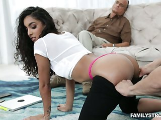 Marketable stepbrother fucks sexy stepsis Claire Black in front be useful to sleeping stepdad