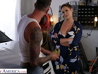 Butchery hot milf with obese chest Ryan Keely bangs handsome auto mechanic