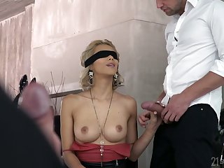 Unsighted bent over bazaar Veronica Leal gives a blowjob before a hardcore DP sex