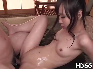Asian student is getting the brush daily portion be useful to penetrate, from a fellow she is in enjoy with