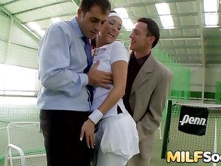 Stunning MILF Lea Magic Cum Drenched After DP Threesome onwards Tennis Court