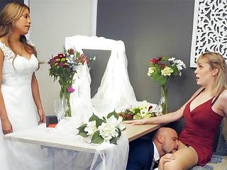 Bridesmaid ennuyant down groom hard sex