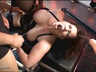 Fat ass whore opens upon for piss and cum respecting a gangbang