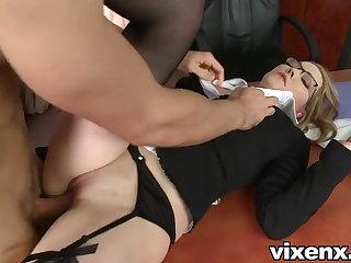Bad secretary punished with spanking plus anal sex