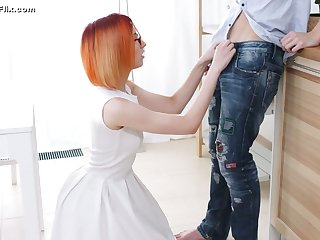 Nerdy pounding haired dude is treated with a good blowjob by four eyed gal