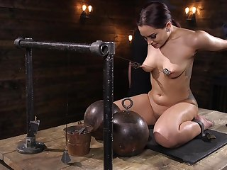 Brunette MILF slut Gabriella Paltrova strapped in and abused