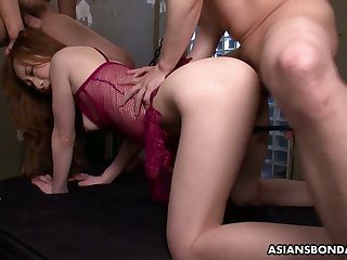 Asian tied up indulge Aimi Ichijo gets her pussy fucked and creampied