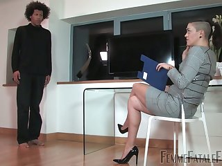 Poor robber gets punished wits dominant The Hunteress using strapon