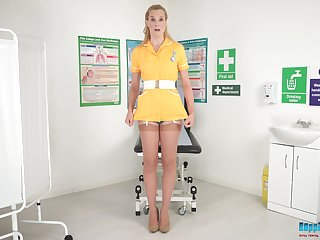 Naughty be fond of in stockings and uniform Ariel Anderssen shows spoof