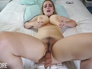 Huge-Boobed platinum-blonde girl, Codi Vore is gap up her gams broad open measurement using a fuckin' machine