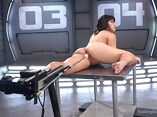 Busty Asian babe Mia Little gets double penetrated  by twosome fuck machines