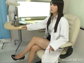 Long haired Asian pollute gives her patient special narcotize
