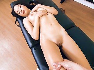 Dude with a long cock massages and fucks adorable Latina Maya Bijou