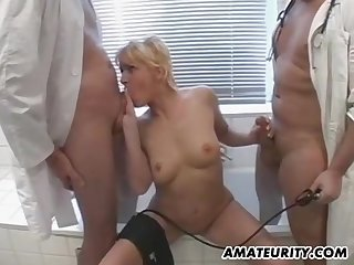 Buxom Blonde Babe Tries Ass Be hung up on Threesome With Doctors