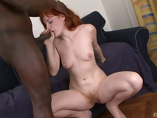 Hardcore interracial fucking relative to redhead amateur Barbara Babeurre