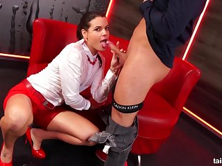 Sexy brunette nearly red skirt and high heels loves Pissing