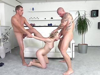 Two guys on touching unending dicks fuck mouth and selfish pussy of a hottie
