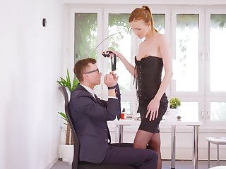 Dressed to kill redhead acts inner relative to make an issue of man in a seductive cam play