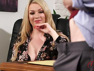 Erotic fair-haired boss Penny Lee watches her assistant masturbating