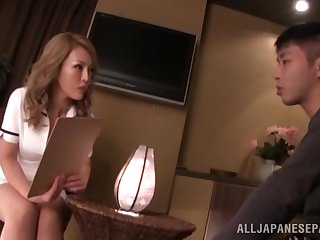 Aroused Japanese nurse is intrigued about the guy's massive dick